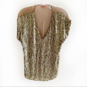 Chan Luu gold mermaid sequin silk shirt v neck